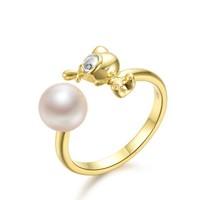 京润珍珠拥抱刀刀狗925银镶淡水珍珠开口圈戒指7-7.5mm圆形生肖狗本命年开口圈