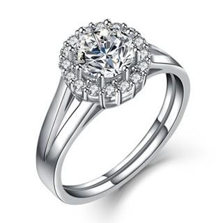 一搏千金 YBQianJin 18K金钻石戒指Pt950铂金钻戒 女款六爪结婚钻戒/珠宝裸钻共45分FG色 约2.8g