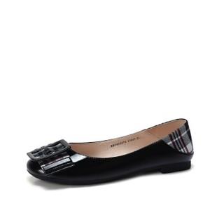 骆驼 A91025670 女士 摩登大气方扣格子布混搭套脚单鞋 A91025670 黑色 35