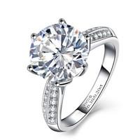 一搏千金 YBQianJin 18K金钻石戒指Pt950铂金钻戒 女款六爪结婚钻戒/珠宝裸钻 BG287 共50分FG色
