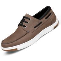 goldlion 金利来 男士休闲皮鞋商务舒适轻质透气时尚559830248FRA-深卡其色-41码