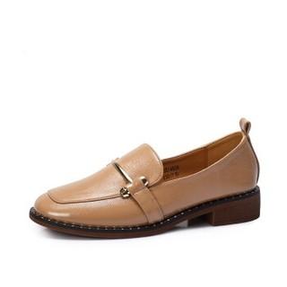 CAMEL 骆驼 女士 韩版休闲金属铆钉浅口单鞋 A83514656 粉色 37