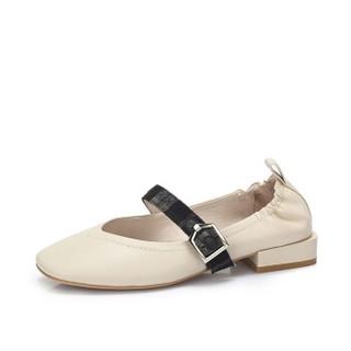 CAMEL 骆驼 女士 复古舒适皮带扣饰低跟单鞋 A83893614 白色 38