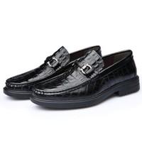 Mexican 稻草人 商务休闲皮鞋男士真鳄鱼纹正装英伦时尚懒人套脚轻质舒适 6801 黑色 40
