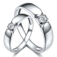 鸣钻国际 天作之合 白金钻石对戒 PT950铂金钻戒 结婚求婚戒指 情侣款