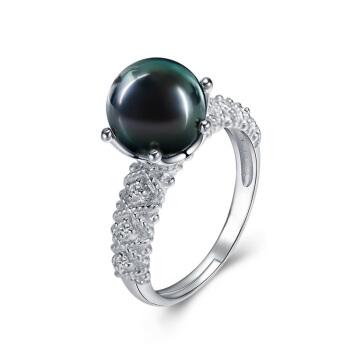 海蒂(haidi)冠妙 正圆大溪地黑珍珠戒指 可调节戒圈 黑色 8-9mm