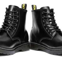 Haut Ton 皓顿 男靴时尚牛皮马丁靴男都市英伦军靴子男 H109 黑色 39码