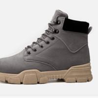 Haut Ton 皓顿 中高帮休闲男鞋时尚户外系带工装沙漠马丁男靴子 GB303 灰色加绒 40