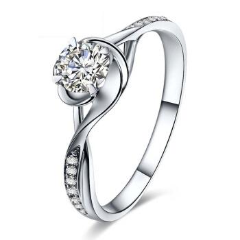 鸣钻国际 一生一世 PT950铂金钻戒女 白金钻石戒指结婚求婚女戒 情侣对戒女款