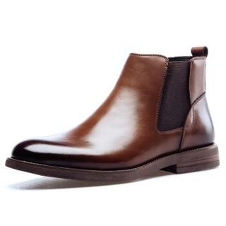 PLAYBOY 花花公子 男士套脚商务休闲切尔西加绒保暖棉靴子男 棕色 42 8DW551131V