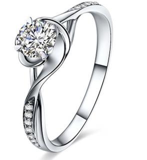鸣钻国际 四爪豪华 PT950铂金钻戒女 白金钻石戒指结婚求婚女戒 情侣对戒女款 共约14分 9号