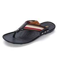 GOLDPOOL 高尔普 男士潮流透气休闲户外沙滩人字凉拖鞋 19158GEP825 黑色 39