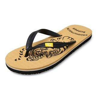GOLDPOOL 高尔普 男士潮流防滑户外休闲沙滩人字夹脚拖鞋 19158GEPM06 卡其色 42