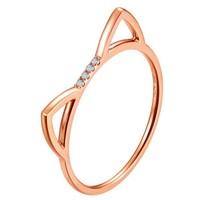 黛慕妮DEMONE 18K金钻石戒指 可爱猫咪玫瑰金钻石指环 生日礼物  SR0953KJ10R