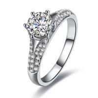 鸣钻国际 情悦 钻戒女 共约1克拉钻石 白18k金群镶显钻钻石戒指结婚求婚女戒 情侣对戒女款 H/SI 11号