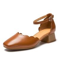 AOKANG 奥康 高跟鞋方头粗低跟一字扣女 184712016 黄棕色 37码
