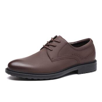 LAORENTOU 老人头 男士商务休闲皮鞋小圆头丝绸牛皮系带舒适简约轻质 83036 棕色 38