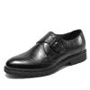 SATCHI 沙驰 男鞋商场同款皮鞋舒适牛皮圆头搭扣套脚商务休闲鞋 39F7A180 黑色 42