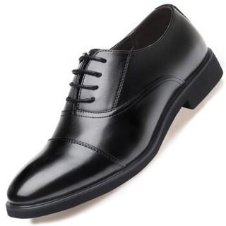 APPLE 苹果鞋 商务男士英伦办公正装系带透气休闲皮鞋男 60821 黑色 39