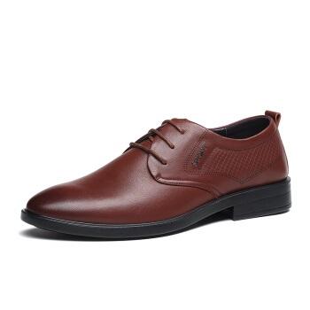 LAORENTOU 老人头 牛皮商务休闲鞋加大码系带男轻便舒适尖头 1801986 棕色 44