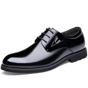 Bejirog 北极绒 男士商务经典牛皮内增高系带透气正装皮鞋男2027 黑色 43