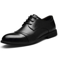 CARTELO 卡帝乐鳄鱼 行川系列 时尚休闲透气头层牛皮低帮系带防滑商务正装鞋 6605 黑色 42
