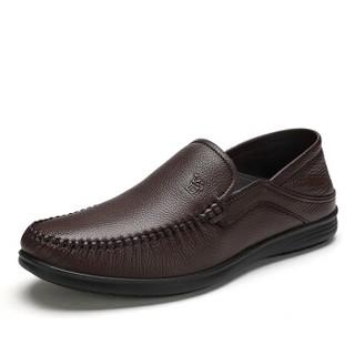 CAMEL 骆驼 柔软牛皮百搭商务休闲皮鞋 A912211480 棕色 44