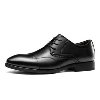 Haut Ton 皓顿 时尚英伦男士商务系带休闲正装男皮鞋子 9391PX042 黑色 40