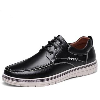 CARTELO 卡帝乐鳄鱼 行川系列男士时尚工装系带透气牛皮舒适商务休闲鞋 6501 黑色 41