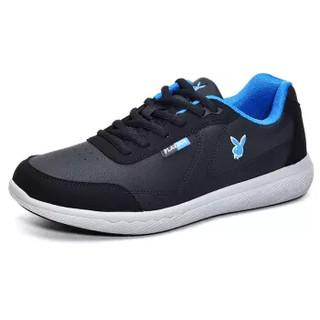 PLAYBOY 花花公子 时尚系带运动休闲板鞋男低帮防滑舒适 DS65062 黑色 42