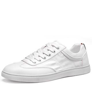 Haut Ton 皓顿 男鞋休闲鞋韩版板鞋系带小白鞋子男 9372XB086 白色 43