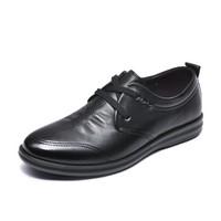 Fuguiniao 富贵鸟 头层牛皮男士休闲鞋低帮潮流舒适百搭系带 A893115 黑色 41