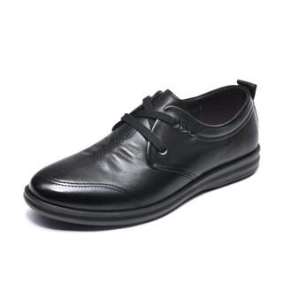 Fuguiniao 富贵鸟 头层牛皮男士休闲鞋低帮潮流舒适百搭系带 A893115 黑色 38