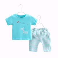 齐齐熊 2019夏季新款纯棉婴儿宝宝七分袖套装婴儿衣服