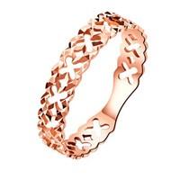 黛慕妮DEMONE  18K金戒指正品 时尚小镂空星星玫瑰金彩金戒指女  SR0273KJ11R