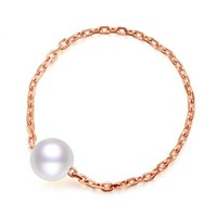 黛慕妮(DEMONE) SR1109KJ 18K金戒指  时尚轻奢主义珍珠玫瑰金指环