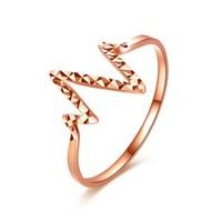 黛慕妮(DEMONE) SR0820KJ 18k金戒指 创意爱情心跳线条指环Love 玫瑰金 送女友送爱人