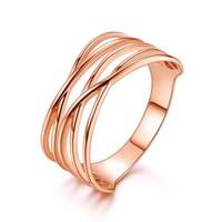 黛慕妮 18K金戒指 时尚彩金戒指线条玫瑰金宽版K金戒指指环女送女友送老婆 玫瑰色 11号