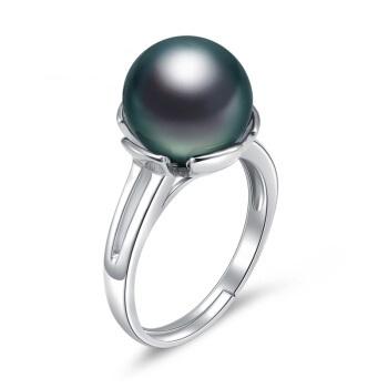 黛米珠宝  10.5-11mm正圆强亮光泽大溪地黑珍珠戒指925银 海眸 黑色 10.5-11mm