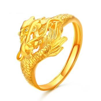 翠绿 A01000010001 足金999 男式龙头黄金戒指 金重约6.3-6.5g