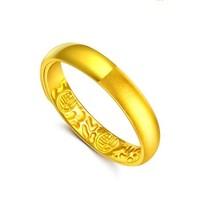 潮宏基 CHJ JEWELLERY 玻璃砂百福图 足金黄金戒指女款 计价 SRG30001140 约3.95g