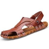 CARTELO 卡帝乐鳄鱼 罗马时尚镂空透气户外包头沙滩凉鞋男 1806 棕色 43