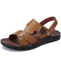 CAMEL 骆驼 简约凉拖两用沙滩鞋男时尚休闲透气露趾 W722287042 卡其 40/250码