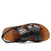 APPLE 苹果鞋 凉鞋男士凉拖户外牛皮透气沙滩鞋 9012 黑色 39