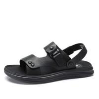 CAMEL 骆驼 韩版百搭舒适防滑两穿男士沙滩凉鞋 A922211582 黑色 39