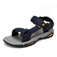 CAMEL 骆驼 户外沙滩潮流防滑平底休闲男士凉鞋子 A822162412 深蓝 39