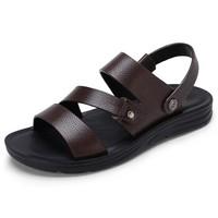 CAMEL 骆驼 休闲沙滩男凉鞋时尚舒适透气牛皮 W722287032 棕色 41/255码