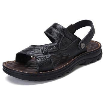 CAMEL 骆驼 男鞋休闲拖鞋男凉鞋牛皮透气男士防滑沙滩鞋 W822287612 黑色 39/245码