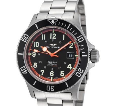 GLYCINE 冠星 Combat GL0249 男士自动机械手表 42mm 不锈钢 银色 圆形