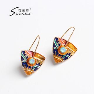 sumni 莎米尼 18K包金 珐琅彩骑士盾耳饰